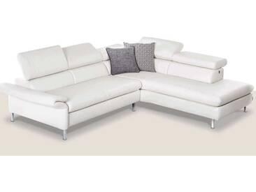 Willi Schillig Ecksofa Amy 20960 bestehend aus Sofa und Ecksofa manuelle Kopf- und Seitenteilverstellung weißer Lederbezug Z59_42 chromglänzende Vierkantfüße
