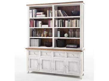 MCA furniture Bücherregal Byron aus Massivholz Recycle Kiefer mit Absetzung Vintage braun, Farbausführung wählbar