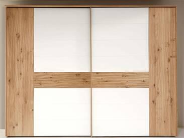 Thielemeyer Loft Schwebetürenschrank 2-türig Front und Korpus in Eiche Massivholz mit Absetzungen in Colorglas weiß Schrankbreite wählbar