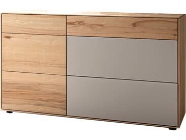 Thielemeyer Lava Kommode mit 1 Tür links und 3 Schubkästen rechts Ausführung Naturbuche im Altholz-Design mit Absetzungen in Colorglas grau