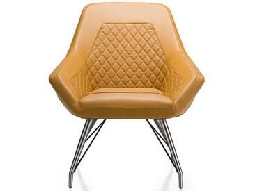 Habufa Daimon Sessel Tatra Lederlook Gestell Edelstahl Ausführung wählbar Lounge Stuhl für Ihr Esszimmer