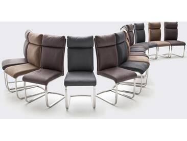 MCA furniture Rabea 2er Set Freischwinger Flachrohr Edelstahl Bezug Antiklook gebürstet Bezugsfarbe für Esszimmer und Küche