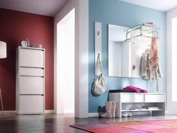 Wittenbreder Merano Muchele komplette Garderobe Vorschlagskombination 02 für Flur mit Schuh Klappschrank, Bank und Spiegel