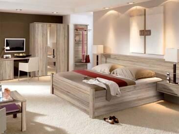 Priess Objekträume Schlafzimmer Bett 3-türiger Kleiderschrank mit Spiegel Hängenachtkommoden