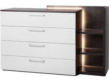 Nolte Möbel Novara Kommode mit 4 Schubkästen und Anstellregal inklusive LED-Beleuchtung Ausführung Korpus und Oberplatte in Eiche-Nachbildung dark chocolate unf Front in Polarweiß