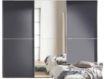 Nolte Express Möbel One 310 Schwebetürenschrank 3-türig Teilfront mit Spiegelauflage mittig und Dekor bei den äußeren Türen und mittiger Zierleiste ,Schrankbreite und -höhe wählbar