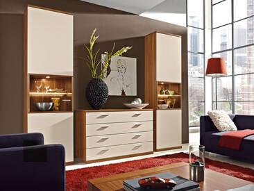 RMW Rietberger Cremona Wohnwand Manhattan 3-teilig Vorschlagskombination V6693 für Wohnzimmer Lack Crema Beleuchtung wählbar
