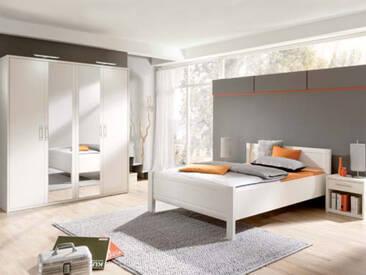 Priess Objekträume Schlafzimmer Bett 4-türiger Kleiderschrank mit Spiegel Nachtschrank