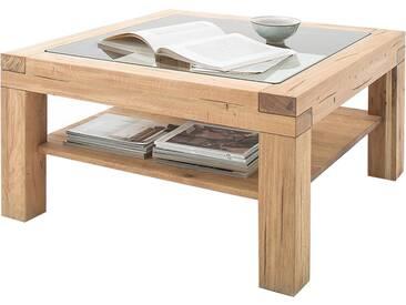 MCA Furniture Couchtisch Alec 58830GEW aus Wildeiche massiv geölt Sicherheitsglas bronze farbig für Ihr Wohnzimmer