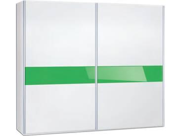 Neue Modular Primolar Venezia 2-türiger Schwebetürenschrank Venezia in Dekor weiss mit Glasband in RAL Farbe optional mit Dämpfer