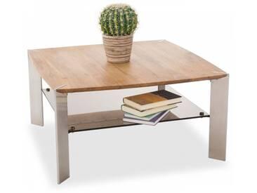 MCA Furniture Couchtisch Nelia 58865AZ7 aus Eiche massiv Sicherheitsglas bronze farbig für Ihr Wohnzimmer