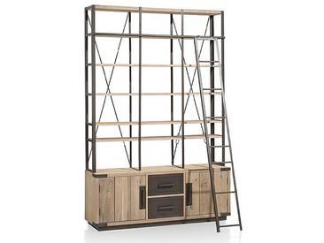 Habufa Station Bücherregal mit 2 Türen 2 Schubladen und 6 Nischen Eiche teilmassiv mit Metallfronten an den Schubladen für Ihr Wohnzimmer oder Esszimmer