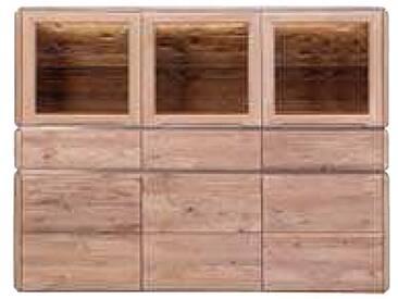 Dkk Klose Kollektion K19 Kastenmöbel Highboard mit Schubkästen und Holz-/ Glastüren Kommode Massivholz Beimöbel für Esszimmer in Natureiche bianco Wachseffektlack