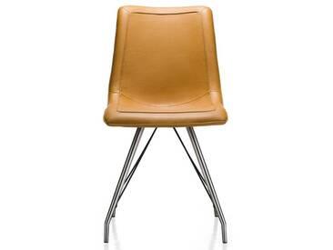 Habufa Daimon Stuhl Tatra Lederlook Gestell Edelstahl Ausführung wählbar Stuhl für Ihr Esszimmer