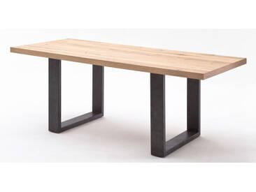 MCA Esstisch Alvaro Tisch Tischplatte massiv furniert Gestell gerade Beine in Crack Eiche natur oder Crack Eiche schoko Größe wählbar Furniture