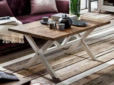MCA furniture Couchtisch Byron aus Massivholz Recycle Kiefer mit Tischplatte Vintage braun, Gestellfarbe wählbar