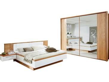 Disselkamp Cloud 7 Schlafzimmer- Set Bett mit schwebenden Nachtkonsolen und Schwebetürenschrank Front und Korpus Wildeiche Absetzung in Lack- Weiß