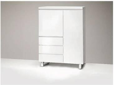 MCA furniture Sydney Kommode 48906W1 Hochkommode weiß lackiert in Hochglanz für Wohnzimmer mit 2 Türen und 3 Schüben