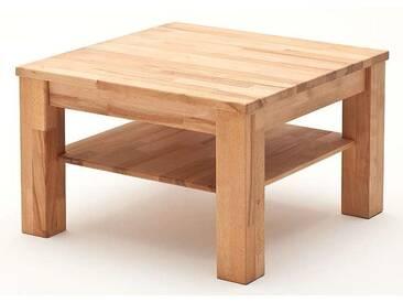 MCA Furniture Couchtisch Paul 58706 Kernbuche geölt und gewachst quadratisch 80x80 cm Massivholz keilverzinkt mit Ablageplatte mit Stollen