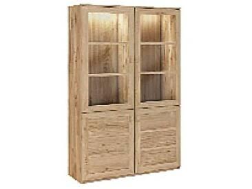 Dkk Klose Kollektion K28 Vitrine mit 2 Holztüren und 2 Glastüren Kastenmöbel massiv Beimöbel für Esszimmer Beleuchtung und Ausführung wählbar