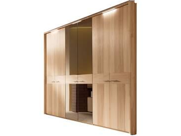 Thielemeyer Mali Drehtürenschrank 6-türig mit 2 Spiegeltüren bronziert in Front- und Korpusausführung Strukturesche Massivholz mit LED-Passepartout-Kranz-Beleuchtung