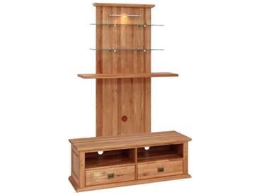Dkk Klose Kollektion K1 Kastenmöbel Mediensäule für Wohnzimmer oder Esszimmer Front und Korpus Wildeiche massiv in verschiedenen Beiztöntönen lieferbar mit Beleuchtung