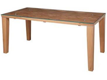 Dkk Klose Kollektion Vierfußtisch T16 aus Massivholz für Esszimmer Tischplatte mit Wellenoptik und Glasplatte feste Platte in verschiedenen Größen erhältlich Holzausführung wählbar