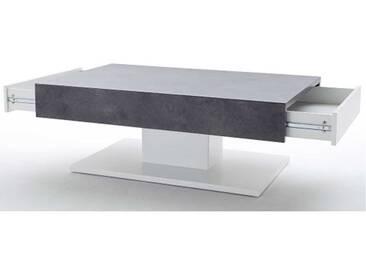 MCA Furniture Lania 58202BW7 Couchtisch 2 Schubkästen Ausführung Beton-Dekor matt weiß lackiert für Wohnzimmer Speisezimmer