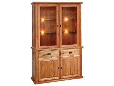 Dkk Klose Kollektion K1 Kastenmöbel Vitrine 2-teilig für Wohnzimmer oder Esszimmer mit Glastüren Wildeiche massiv in verschiedenen Beiztönen lieferbar Beleuchtung optional