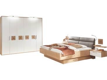 Disselkamp Cena Schlafzimmer Doppelbett Drehtürenkleiderschrank Nachtkonsolen mit Wandsteckboard Korpus Wildeiche Echtholzfurnier Front Lack Weiß