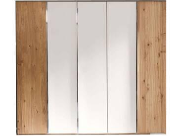 Thielemeyer Loft Drehtürenschrank 5-türig Korpus und Front Eiche Massivholz mit 3 Mitteltüren in Colorglas weiß