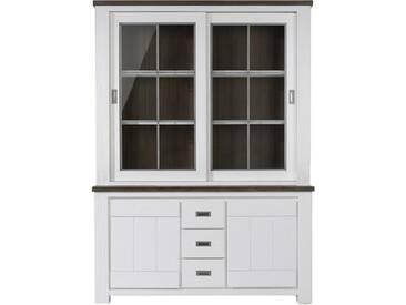 Habufa Deaumain Buffetschrank 24705 mit 2 Schiebe-Glastüren 2 Türen und 3 Schubkästen für Ihr Wohnzimmer oder Esszimmer Akazie teilmassiv off white lackiert mit Absetzung in pampas grau