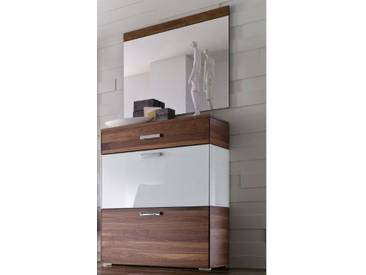 Wittenbreder Massello 210 Schuh Klappschrank für Flur mit Spiegel 602 Schrank Schuhschrank in Nussbaum teilmassiv und Weiss Glas