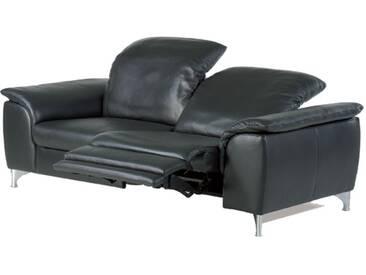 Willi Schillig Ledersofa Sinaatra 33120 2-Sitzer in schwarzem Leder glänzenden Metallfüßen und mit elektrischer Kopfstützenverstellung und einer ergoslide-Funktion am rechten Sitz