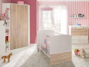 Priess Achat for Kids Babybett Eckkleiderschrank 2-türig Kommode mit 4 Schubkästenl optional wählbar Steckboard und Regal