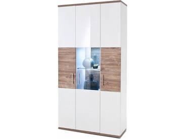 MCA Furniture Luzern LUZ93T12 Kombiv-Vtrine für Ihr Wohnzimmer Hochglanz weiß tiefzieh Nachbildung mit Absetzung Sterling Oak