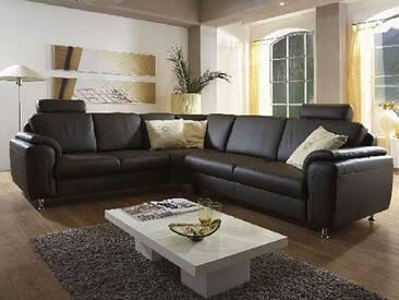 Polinova Eckkombination Orbit L 2,5-Sitzer Rundecke 2-Sitzer inklusive 2 Kopfstützen in Echtleder Ausführung wählbar Rücken echt bezogen Couch spiegelverkehrt lieferbar