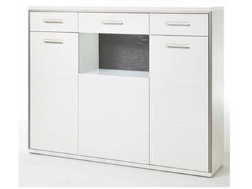 MCA Highboard Trento Wohnzimmer Front Hochglanz weiß, Korpus weiß Nachbildung mit edelstahlfarbigen Metallrahmen Furniture