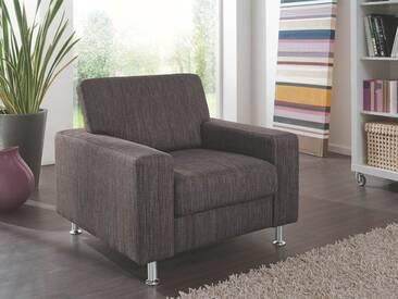 Zehdenick Nice Sessel im braunen Flachgewebe mit Metallfüßen