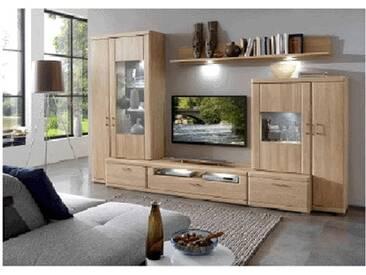 IDEAL-Möbel Bruel Wohnkombination 41 oder 141 Anbauwand für Wohnzimmer Wohnwand Front in Eiche Bianco Lamelle Massivholz geölt