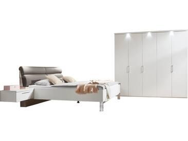 Disselkamp CD Studioline Schlafzimmer Doppelbett Nachtkonsole Drehtürenschrank Kranzleiste mit LED Beleuchtung Lack weiß