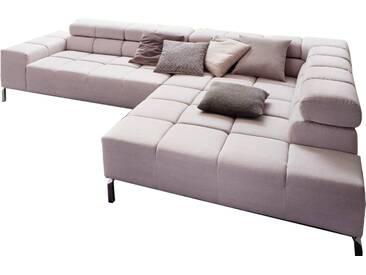 Candy Wohnlandschaft Wilson bestehend aus 2-Sitzer Armlehne links und Umbauecke groß rechts im Bezug Vintage rosa aus der Stoffgruppe 10 Rücken echt bezogen auf Metallfüßen