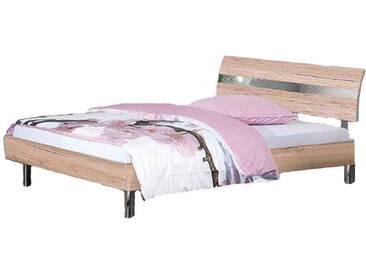 Neue Modular Primolar Colorado Bett inklusive Kopfteil Desio mit Chromriffeleinsatz und Rundfüße verchromt Liegefläche 180x200 cmoptional mit Nachtkommode Garda