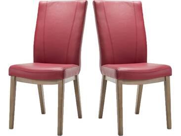 Habufa Sono Stuhl im 2er Set mit Vierfuß-Holz-Gestell für Ihr Esszimmer Polsterstuhl in Echtlederbezug oder Ledermix wählbar und mit wählbarer Holzausführung Handgriff an der Rückenlehne wählbar