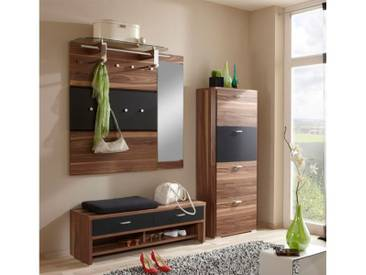 Wittenbreder Woody plus komplette Garderobe 6-teilig für Flur, Furnier Lack matt mit Bank, Paneelen und Schuhschrank