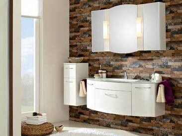 Pelipal Huevo 13 Badmöbel Badblock mit Glaswaschtisch weiß, Spiegelschrank und Unterschrank ca. 1300 mm