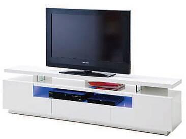MCA furniture Media Evelina TV Lowboard 59060WW4 weiß in Hochglanz für Wohnzimmer mit 3 Schubkästen und 1 Fach mit LED Beleuchtung