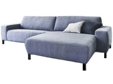 Candy Eckkombination Anderson 1,5-Sitzer links XL und Longchair Armlehne rechts XL im Bezug Cosmopolitan light blue Rücken echt bezogen mit Metallfuß schwarz matt