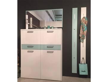 Wittenbreder Multi-Color WOOD 4-teilige Garderobenkombination bestehend aus einem Mehrzweckschrank, einer Spiegelgarderobe und 2 Garderobenpaneelen in Weiß matt und Eiche Tabak Furnier