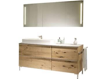 Voglauer V-Alpin Badezimmer-Einrichtung Kombination 3-teilig Waschtischunterschrank mit Waschtisch und Aufsatzbecken sowie Spiegel inklusive Front- und Waschplatz LED-Beleuchtung Korpus und Front Alteiche rustiko echtholzfurniert
